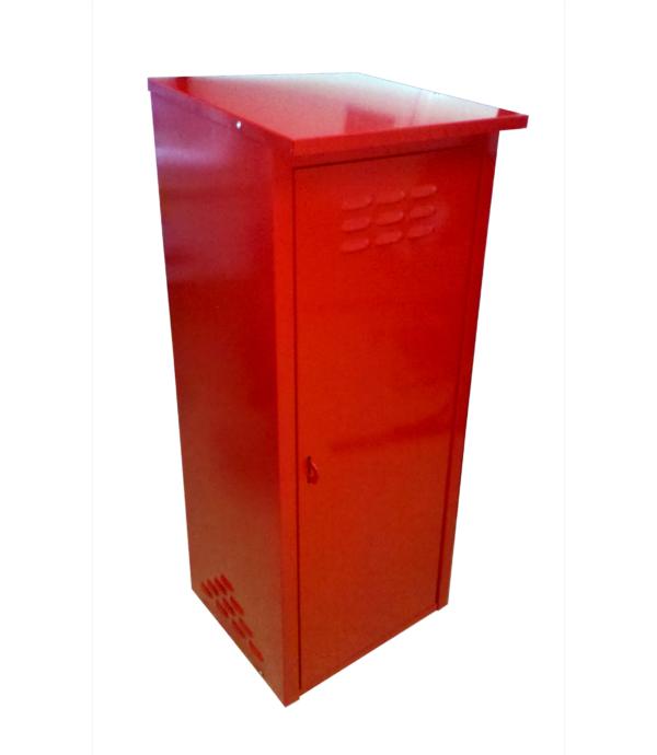 Шкаф из оцинкованной стали красного цвета на два баллона купить в СПБ