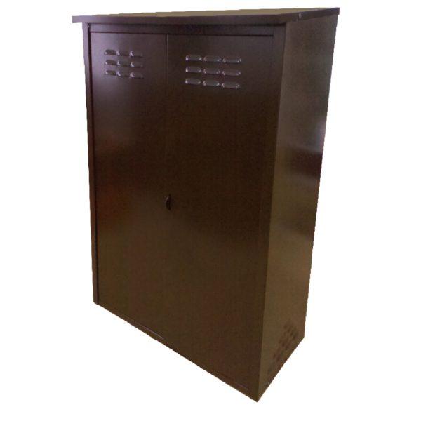 Шкаф из оцинкованной стали разборный двойной (коричневый)