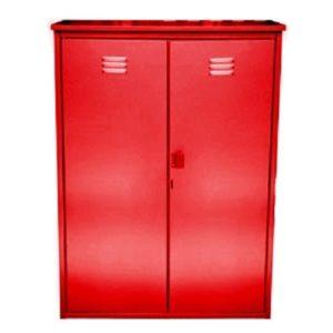 Купить красный шкаф из оцинкованной стали на два баллона в СПБ